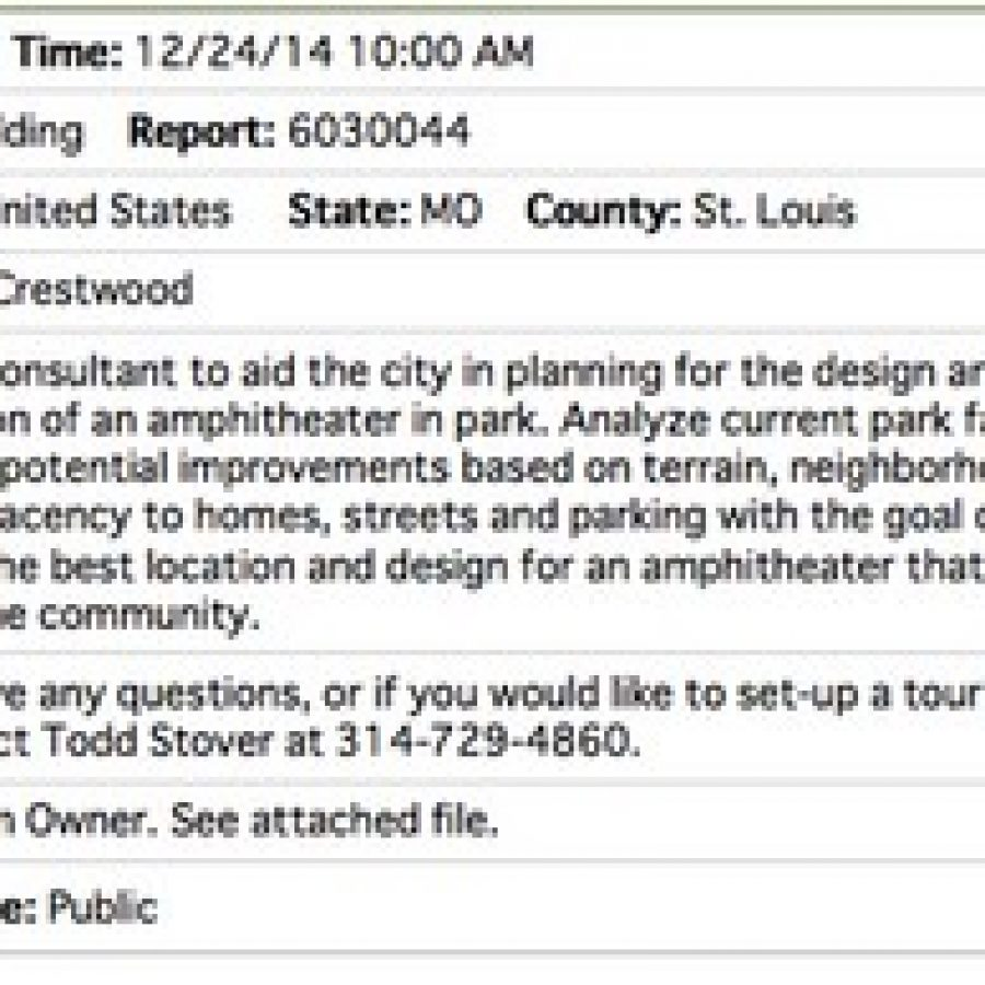 The description of the scope of the Crestwood amphitheater project from the bid listing.
