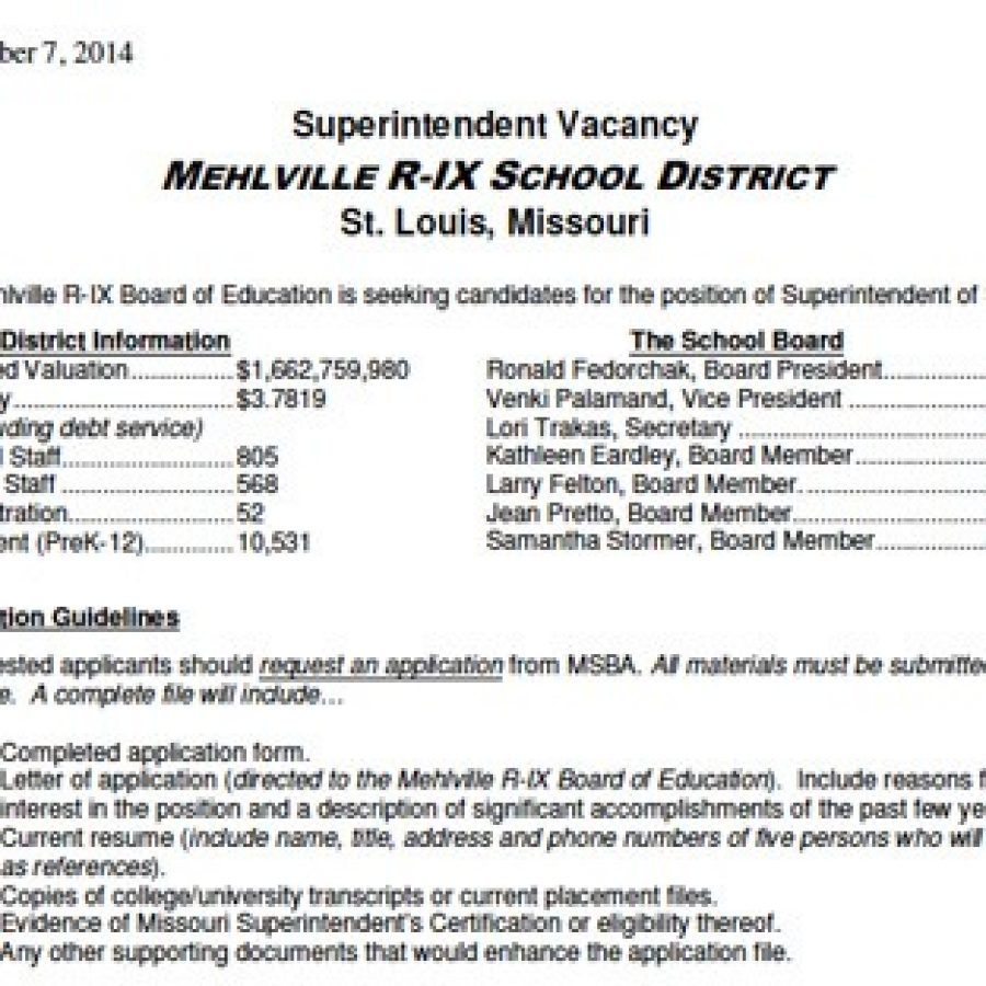 The job posting for the Mehlville superintendent vacancy is now live on the MSBA website.