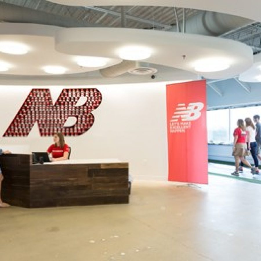 The foyer of New Balance's Sunset Hills office, which opened last year.