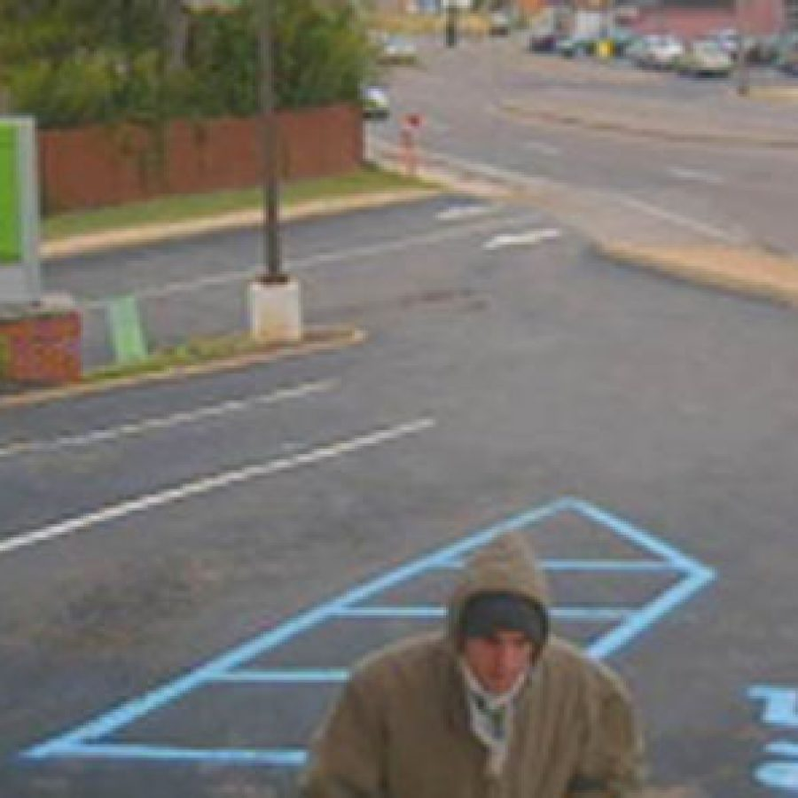 The St. Louis County Police Department on Saturday released this photograph of the suspect in Friday's robbery of Regions Bank.