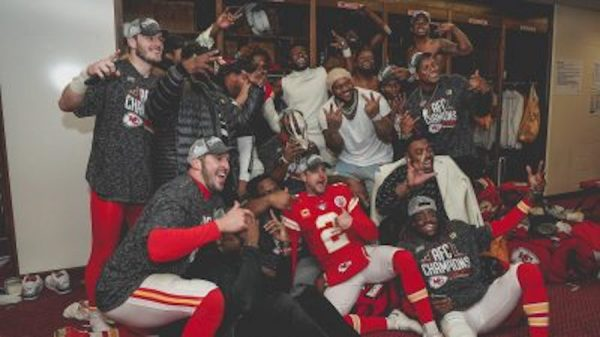 The Kansas City Chiefs celebrate their AFC championship Sunday.