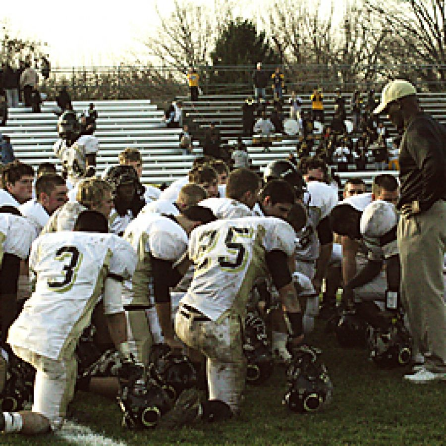 Oakville head coach Arlee Conners addresses his team after the Tigers' loss to Hazelwood Central in the Missouri Class 6 football semifinal Saturday afternoon. Stephen Glover photo
