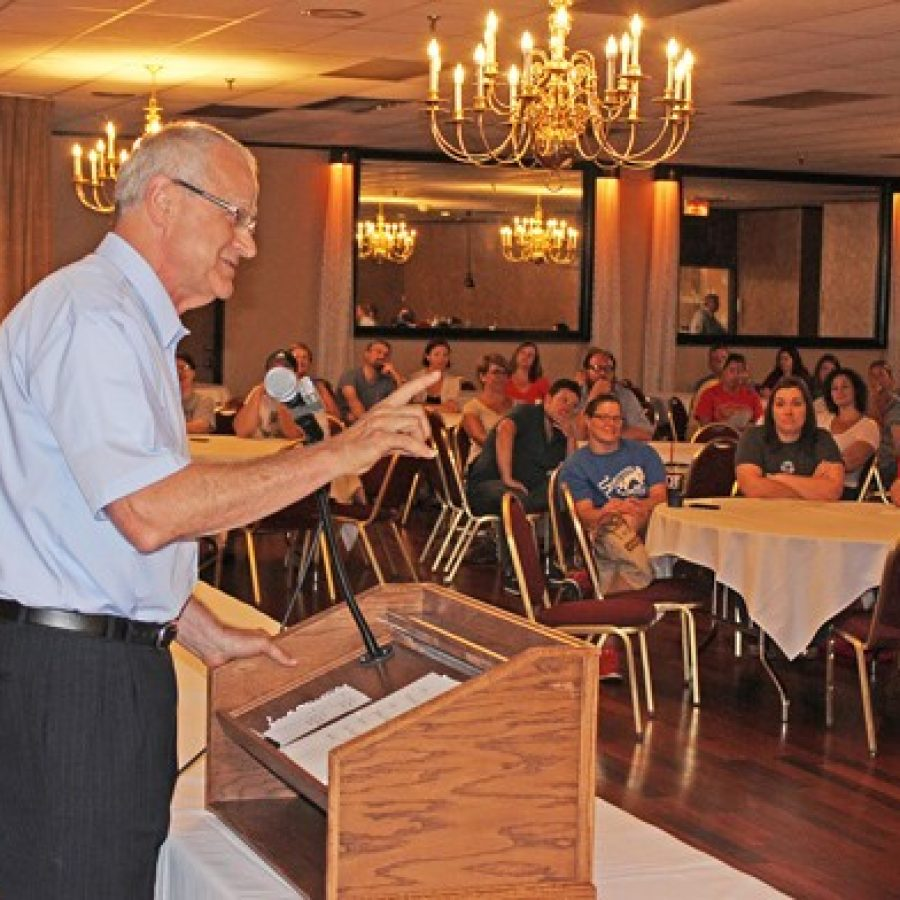 Outgoing Mehlville Superintendent Norm Ridder addresses the crowd at Andre's South Banquet Center last week at the Mehlville-Oakville United Committee's campaign kickoff for a tax-rate increase.