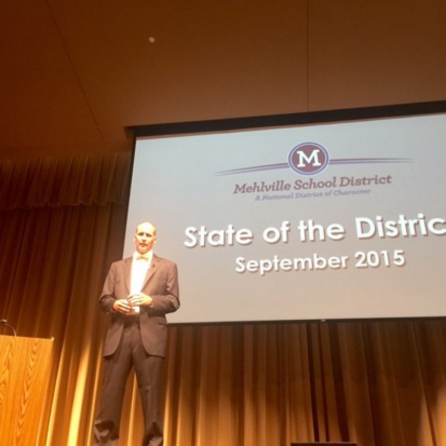 Mehlville Superintendent Chris Gaines presents a previous State of the District address in 2017 in the Nottelmann Auditorium.