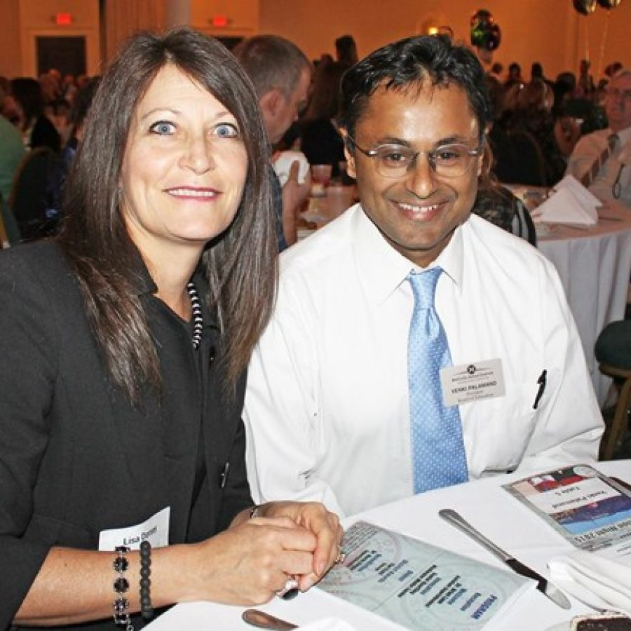 Mehlville Board of Education member Lisa Dorsey, left, and board President Venki Palamand during the district's annual Recognition Night earlier this year.