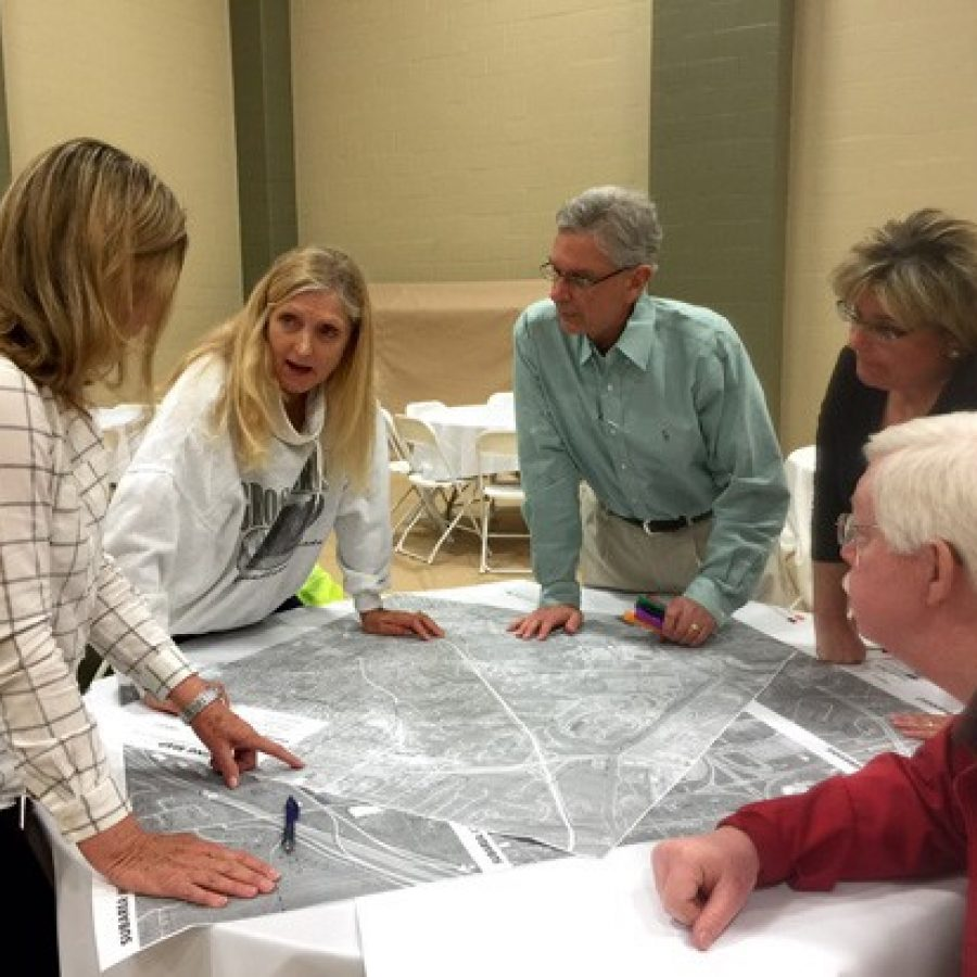Residents mapped out what they wanted to see happen in Sunset HIlls at an April visioning workshop for the city's new comprehensive plan. Pictured from left are Ward 4 Alderman Pat Fribis, Ward 3 resident Anne Jesse, acting board President Tom Musich and former Ward 1 Alderman Frank Hardy.