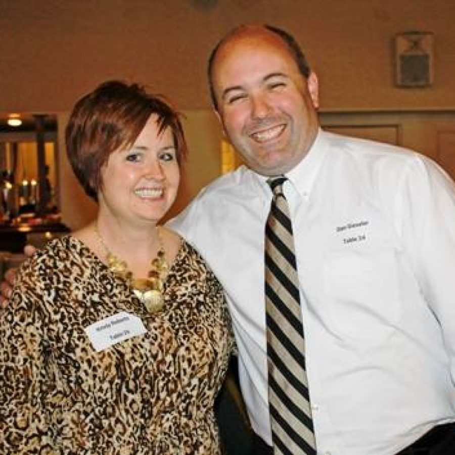 Point Elementary Principal Dan Gieseler, right, with Bierbaum Elementary Principal Kristy Robert, left, at the district's annual Recognition Night earlier this year.