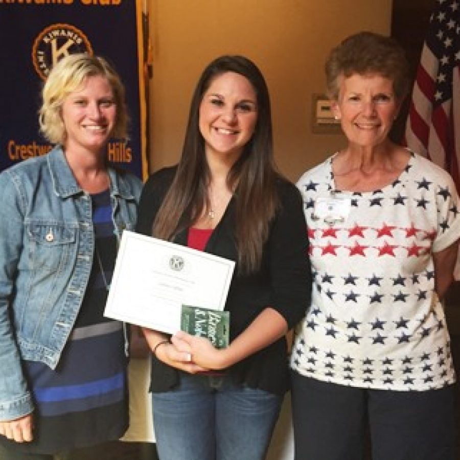 Lindbergh High School senior Sydney Offner celebrates her Student of the Month honor with Nancy Benson, right, of the Kiwanis Club of Crestwood-Sunset Hills, and LHS counselor Kate Keegan, left.