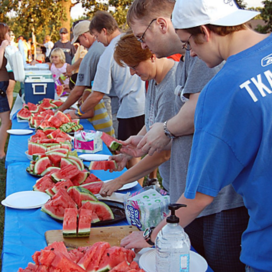 After the MHS Marching Band's performance at its annual 'Seeds' concert, band members and attendees were treated to slices of watermelon to carry out the 'Seeds' theme.