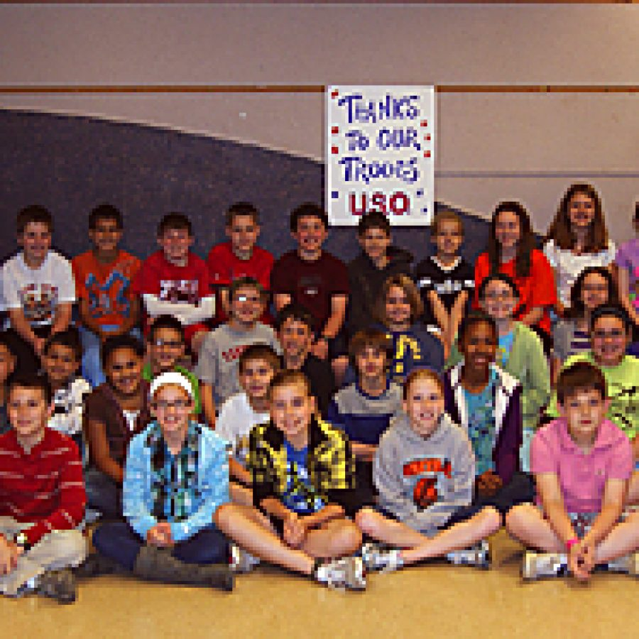 The Oakville Elementary Beta Club raised \$650 for the USOs Operation Phone Home program through the sale of McDonalds coupons and bracelets and by hosting an 80s dance. The fundraiser was led my member Nicholas DeLucia — front row, second from left — whose brother serves in the U.S. Army.