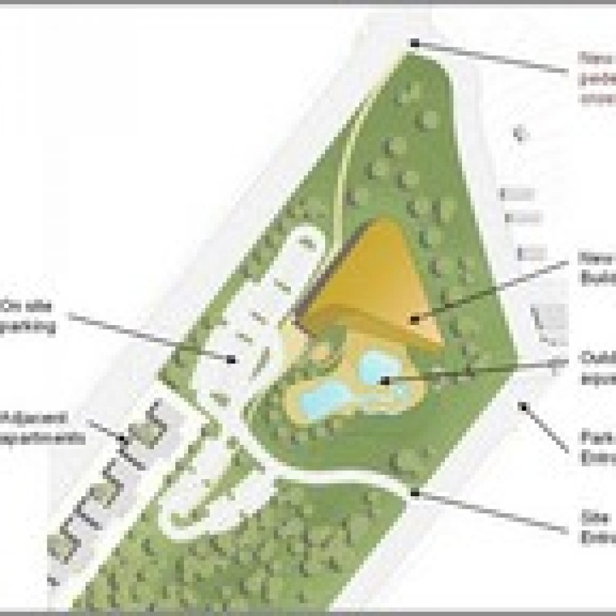 Shown is the site plan for the Lemay Community Center and Aquatic Park.
