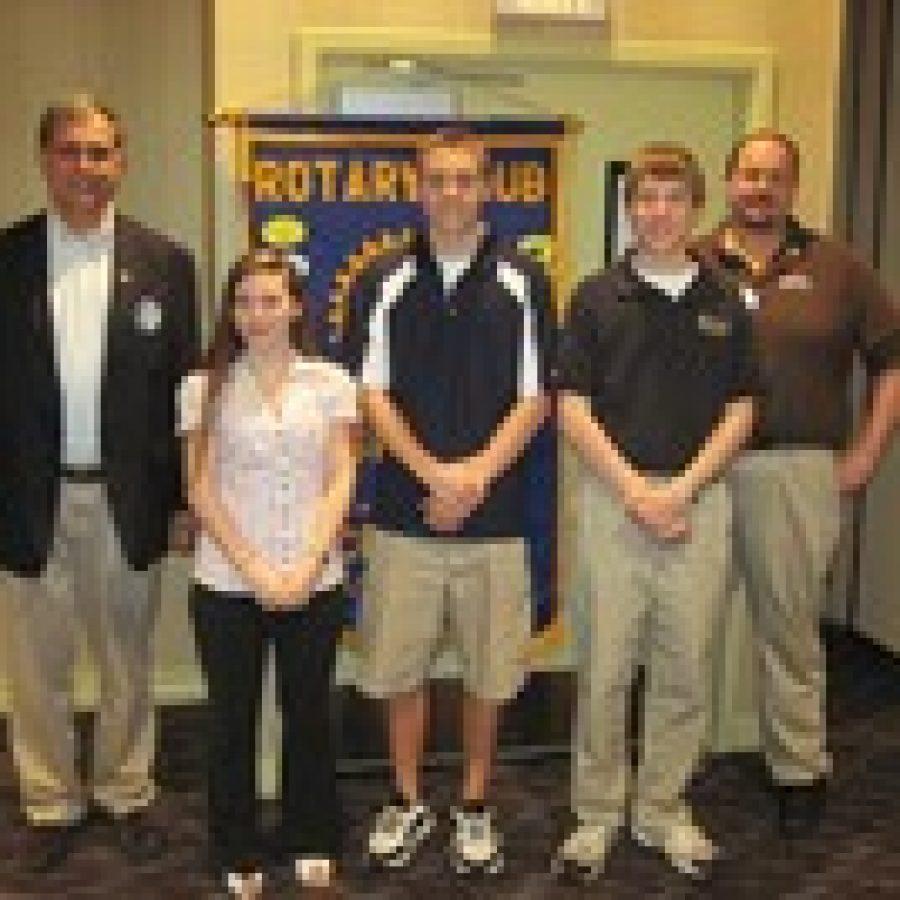 At the Rotary Club's scholarship presentation, from left, are: Scholarship Chairman Bill Shore, Jennifer Pantano, Zachary Rankin, Kyle Moellenhoff and Brian Schraut, Rotary Club president.