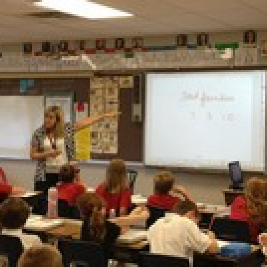 Mrs. Brenda Doering's 4th grade class studying math at Abiding Savior Lutheran School.