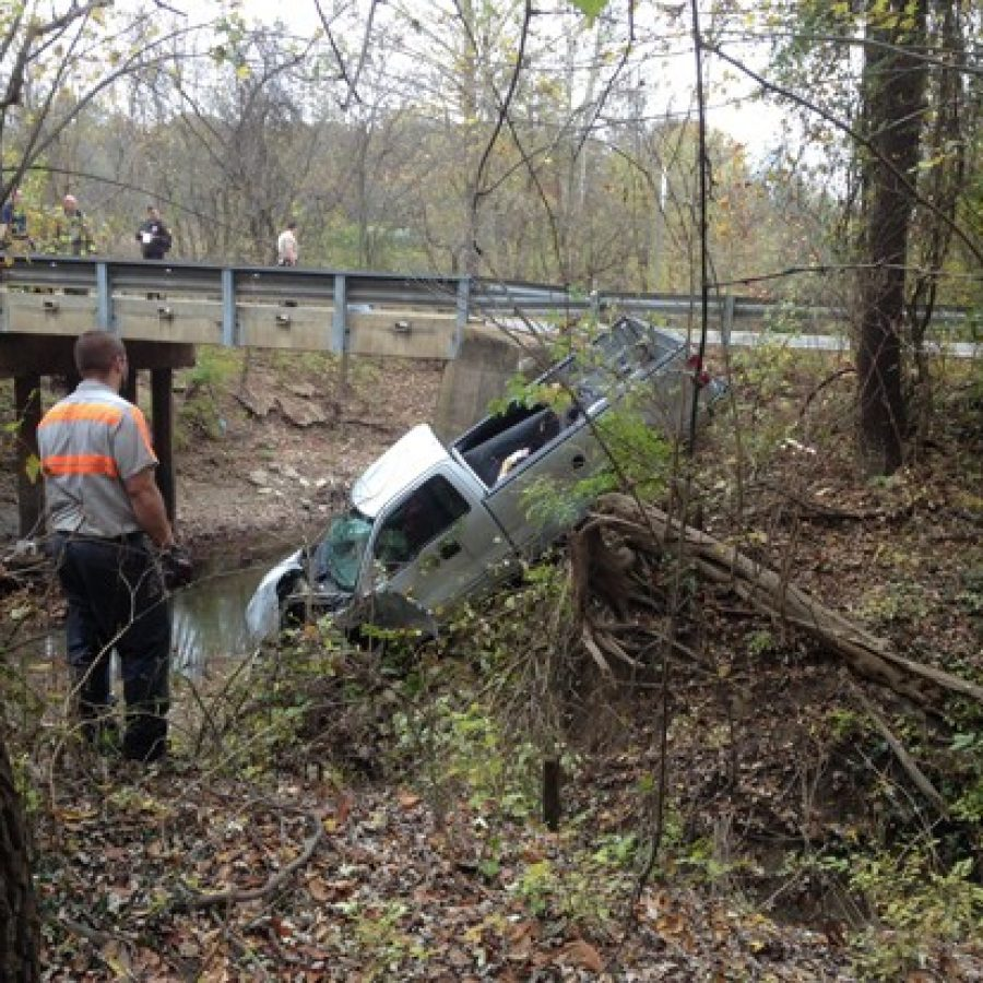This photo sent in by reader Scott Betz last year shows a truck that went off Old Baumgartner Road Bridge in Oakville.