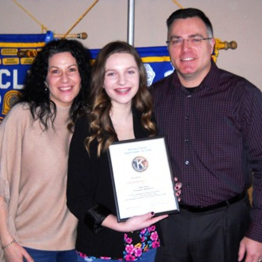 Kiwanis Club honors Outstanding Student at Washington Middle