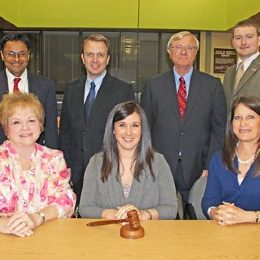 The Mehlville Board of Education elected new officers last week. Pictured, front row, from left, are: Vice President Jean Pretto, President Samantha Stormer and Secretary Lisa Dorsey. Board members, back row, from left, are: Venki Palamand, Kevin Schartner, Larry Felton and Jamey Murphy.