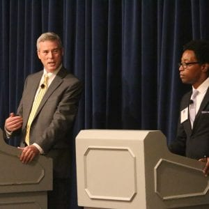 St. Louis County prosecuting attorney candidates Robert McCulloch and Wesley Bell discuss their campaign platforms during a candidate forum sponsored by the Metropolitan Bar Association of St. Louis July 26 at the Ritz-Carlton in Clayton. Photo by Jessica Belle Kramer.