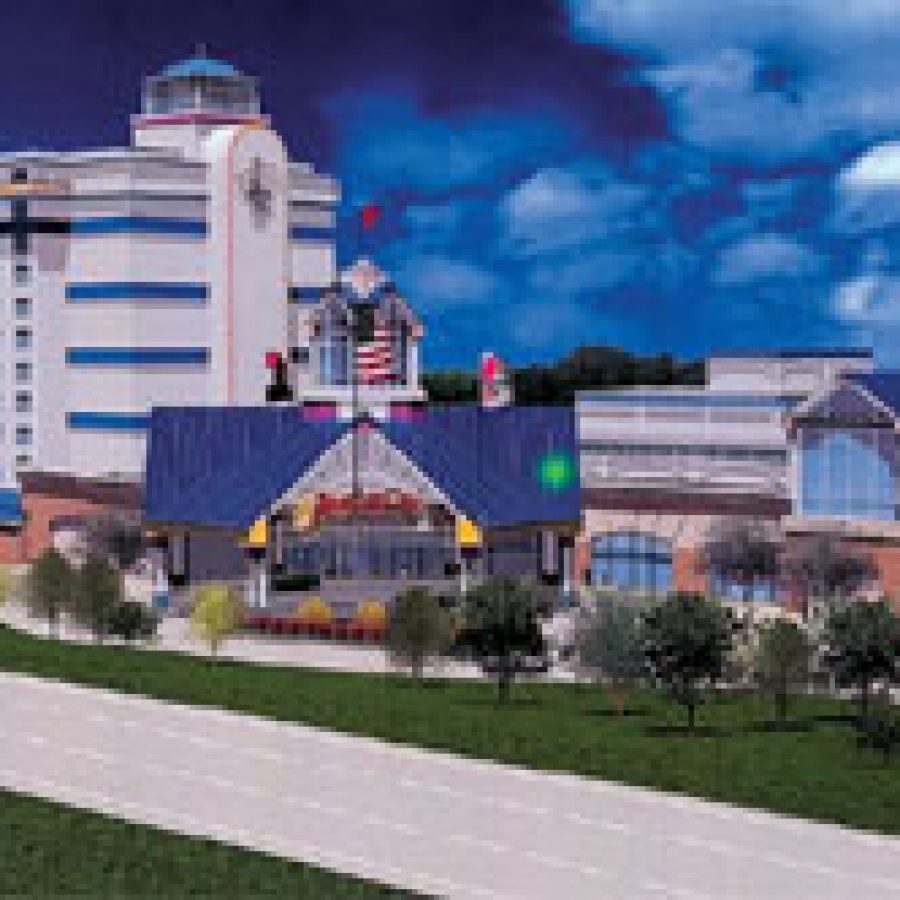Isle of Capri Casinos Inc., one of three gaming developers eyeing a south county location, is proposing this \$167 million development near the Jefferson Barracks Bridge that would include 1,600 slot games, a 220-room hotel, four restaurants, a parking garage, a 12,000-square-foot entertainment event center and other amenities. The road in the foreground is Interstate 255.