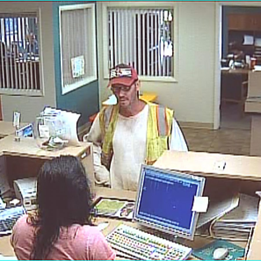 This still image from a surveillance camera video shows the man who police say robbed the Century Credit Union on Lemay Ferry Road Wednesday.
