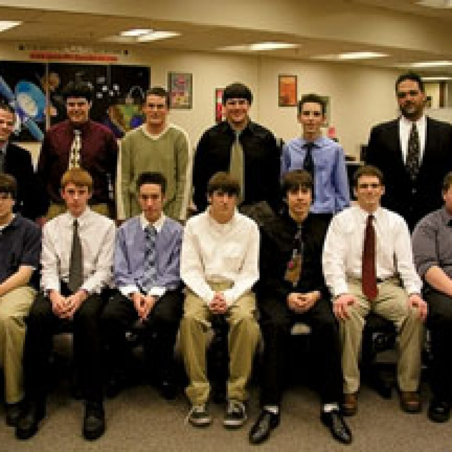 Members of the Oakville High A+ Computer Repair class who successfully completed the CompTIA A+ certification exam, front row, from left, are: Alex Reyland, Drew Welker, Mike Seim, Bryan Radman, Barclay Lewis, Thomas Demsko and Nick Moll. Back row, from left, are: Mark Young, Chris Gerber, Brian Mumm, Mike Anderson, Erich Altenhofer and teacher Tracy Gibson.