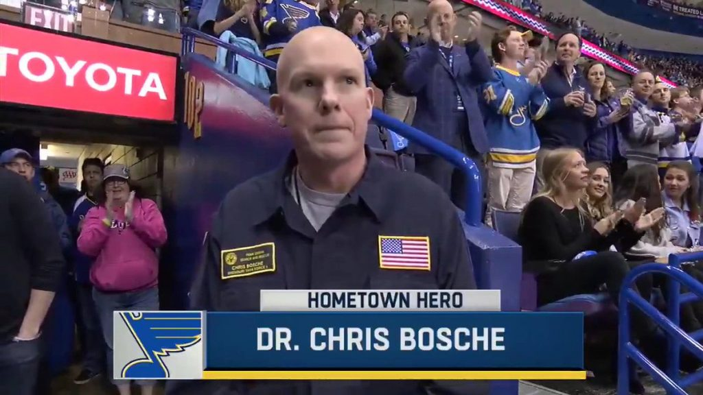 Dr.+Chris+Bosche%2C+pictured+above%2C+was+honored+as+a+%22hometown+hero%22+by+the+St.+Louis+Blues+on+Aug.+1%2C+2017.