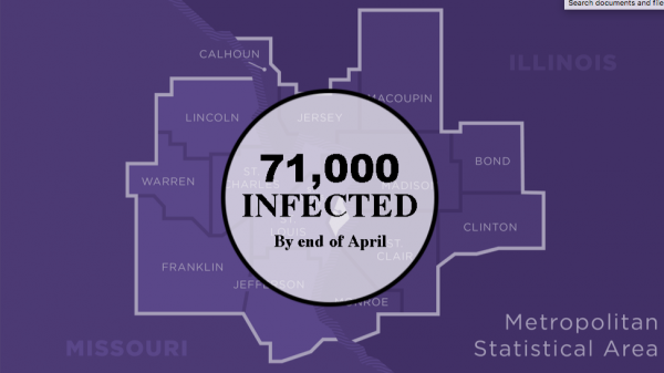 The pandemic task force released this slide with its current projection for total cases in the St. Louis metro area by the end of April.