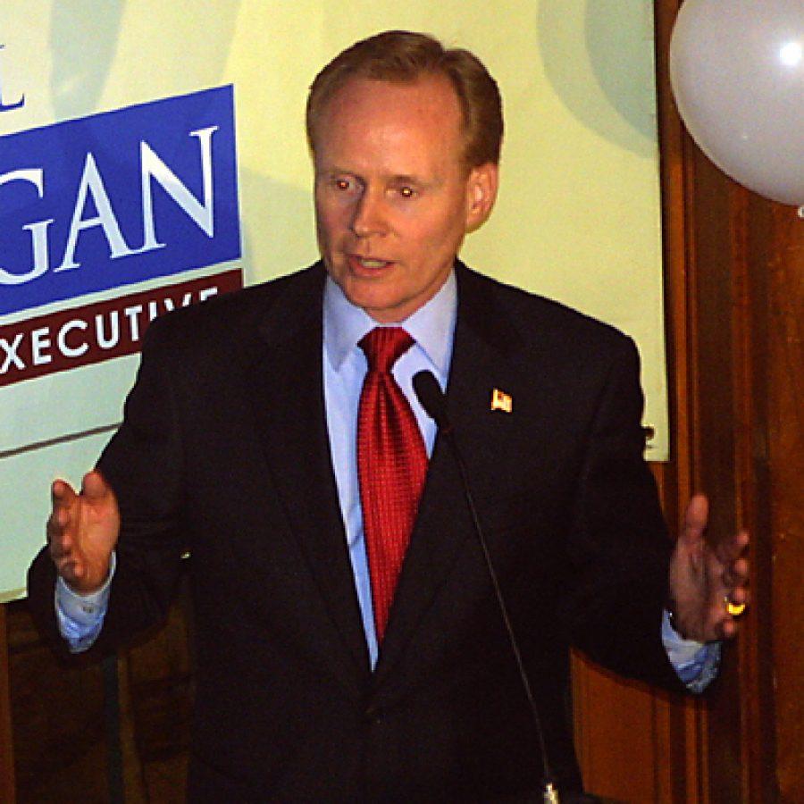 Republican Bill Corrigan addresses his supporters Nov. 2 during his concession speech. Bill Milligan photo