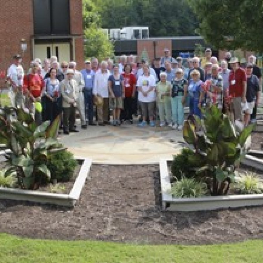 Forty-nine members of the North American Sundial Association recently visited the Nancy L. Ferguson Sundial Garden at Long Elementary School.