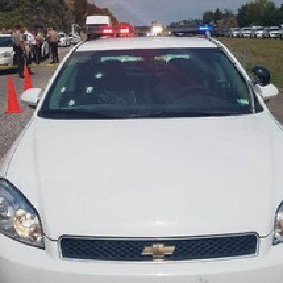 The St. Louis County Police Department tweeted a picture of one of its bullet-ridden police cars, above, after a shootout along Interstate 55 in Jefferson County Monday.