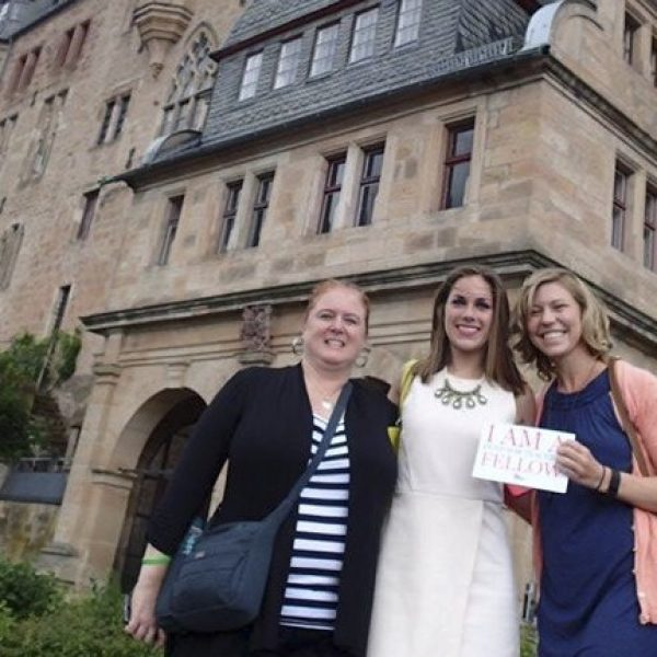 Beasley Elementary School third-grade teachers visited 'Cinderella's Castle,' Landgrafenschloss in Marburg, Germany, as part of a grant-funded trip to Europe last summer to study the origins of fairytales. Pictured, from left, are: Shannon Weber, Jennifer Bayer and Jenna Krueger.
