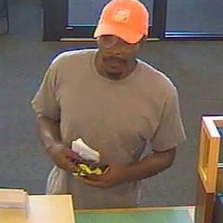 Anyone with any information about this suspect in the robbery of PNC Bank in Crestwood is asked to call the Crestwood Police Department at 314 729-4800.