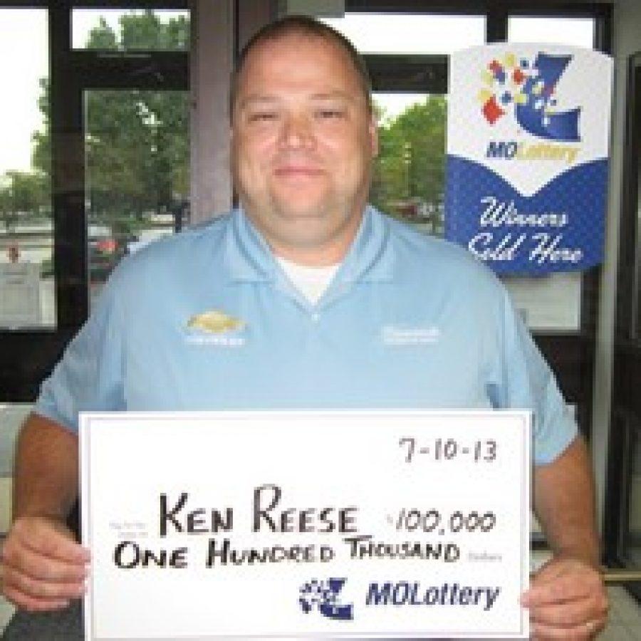 Kenneth Reese bought a \$100,000 winning \Diamond 7\ Scratchers ticket at Schnucks Market, 4333 Butler Hill Road.