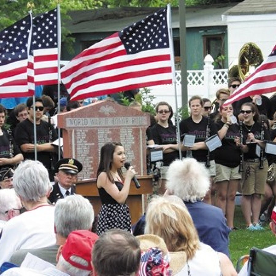 Lindbergh High School student Rachel Nieters performs during the Sappington-Concord Historical Society's 2016 Memorial Day celebration in this photo courtesy of Marilyn Muegge. Rachel also performed in the 2017 ceremony.