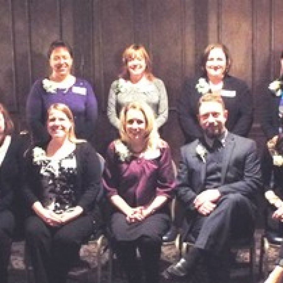 Exceptional Educators honored by the Affton Chamber of Commerce, front row, from left, are: Katie Lorentz, St. Dominic Savio School; Kristina Pluff, Mesnier Elementary School, Eryn Krobath, Holy Cross Academy-Our Lady of Providence Campus; Brian Jennings, Affton High School; and Adrienne Wemhoener, Gotsch Intermediate School. Back row, from left, are: Stacie Martin, Rogers Middle School; Teresa Darr, Dressel School; Amy Ruzicka, Bayless Middle School; and Suzanne Meade, Bayless Elementary School. Not pictured is Huso Korkaric, Bayless High School.