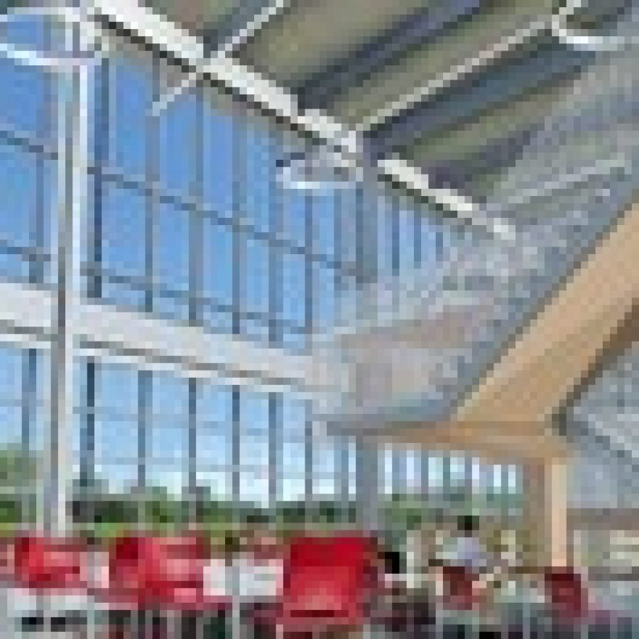 This rendering provided by the St. Louis County Library shows the cafe/atrium of the new \$16 million Tesson Ferry Library that will be constructed at Gravois and Musick roads in Affton, across from Grant's Farm. Construction of the new library could start as soon as Aug. 18.