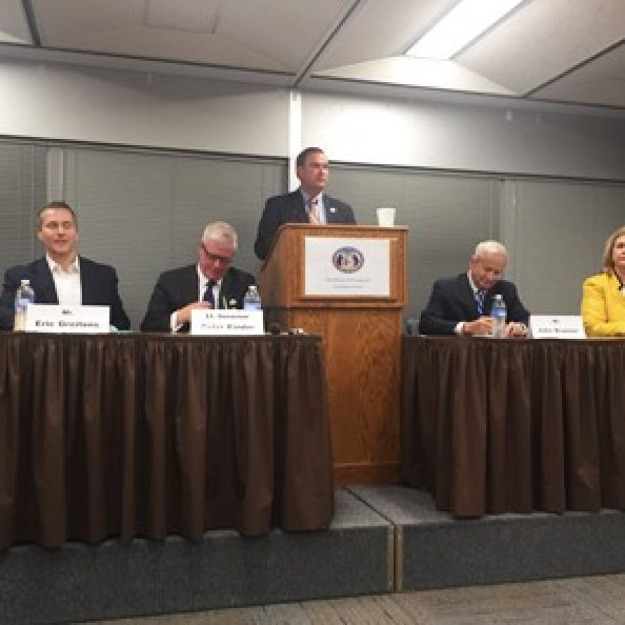 Republican gubernatorial candidates are shown at the debate sponsored by Cole County Republicans. Pictured, from left, are: Sen. Bob Dixon, Eric Greitens, Lt. Gov. Peter Kinder, John Brunner and former House Speaker Catherine Hanaway. Sen. Mike Kehoe, center, served as moderator.