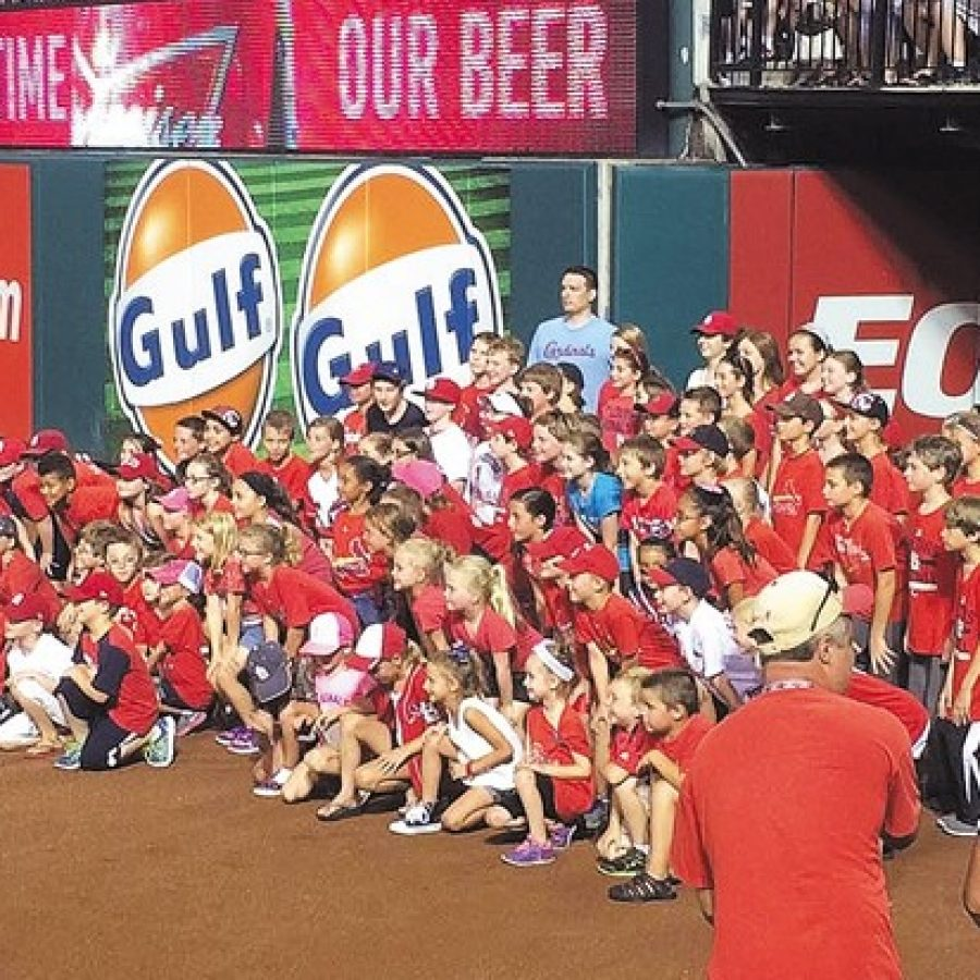 Oakville students sing at Busch Stadium