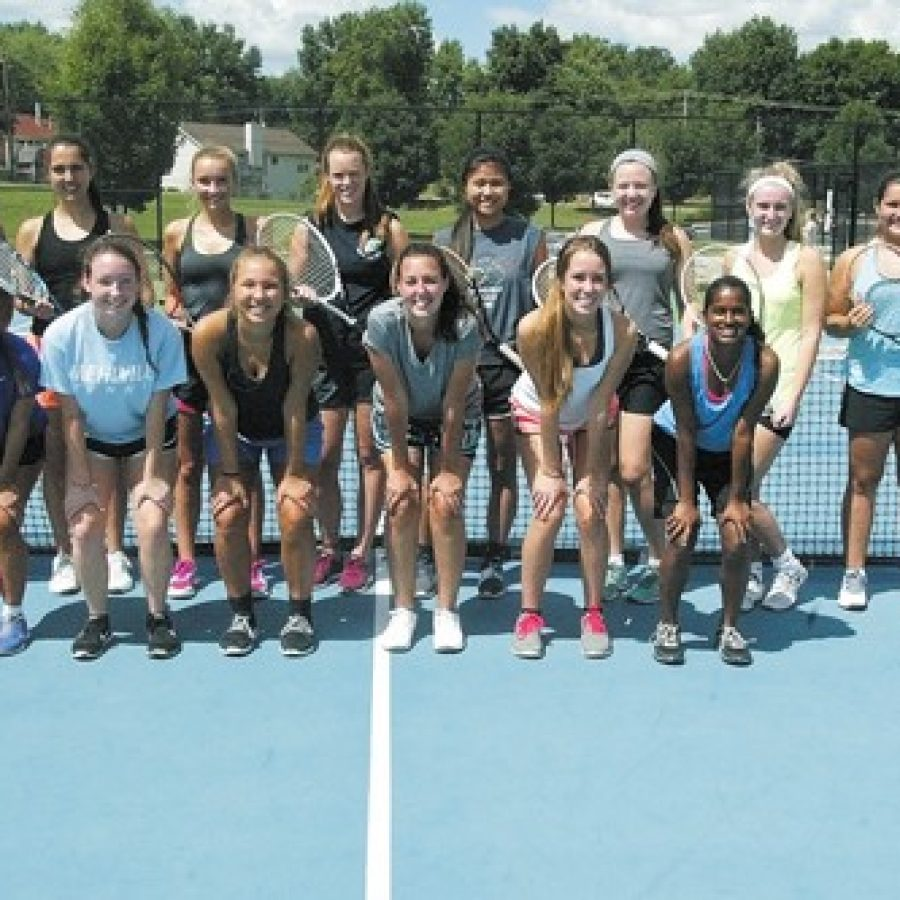 Mehlville High head tennis coach Jill Wojewuczki believes the competition is strong among the members of her 2015 squad, pictured above at the district's tennis courts at Bernard Middle School.