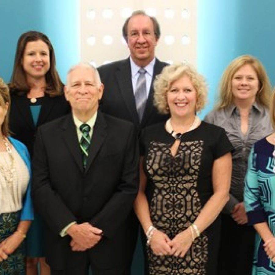 Members of the Lindbergh Board of Education, front row, from left, are: Kate Holloway, Vice President Don Bee, President Kathleen Kienstra and Secretary Karen Schuster. Back row, from left, are: Treasurer Vicki Englund, Gary Ujka and Kara Horton.