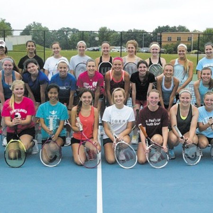 Oakville High head tennis coach Bill Ebert is pleased his 2015 squad is top heavy with seniors who have experience at the varsity level and in district play. The team is pictured above at the district's tennis courts at Bernard Middle School.