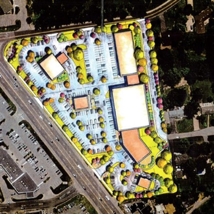 An aerial rendering of what the Court Drive and Lindbergh intersection could look like developed, from developer Dr. George Despotis.