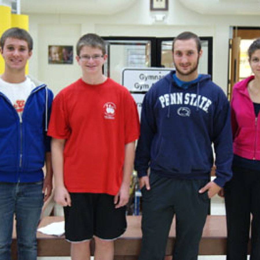 Five Mehlville School District seniors have been selected to join an elite group of high school students from across the country — finalists of the National Merit Scholarship Program. Oakville Senior High students, from left, Alex Mathews, Charles Meyer, Stephen Ream and Clarisse Caliman join Mehlville High student Nathan Quinn as five of the 15,000 students from across the country to earn this year's finalist designation.