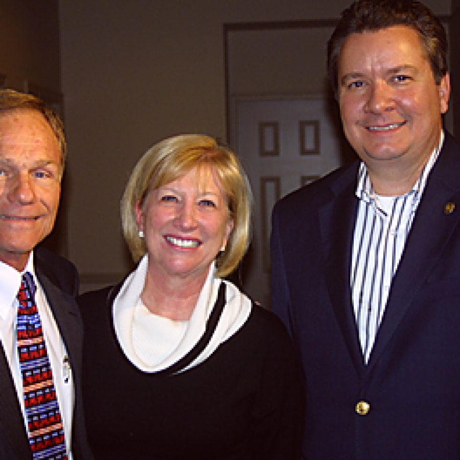 Pictured at their election night celebration at the Sunset Country Club, from left, are: newly elected 97th District state Rep. Gary Fuhr, R-Concord; newly elected 100th District state Rep. Marsha Haefner, R-Oakville; and District 95 state Rep. Mike Leara, R-Concord. Leara was elected to his second term last week. Bill Milligan photo