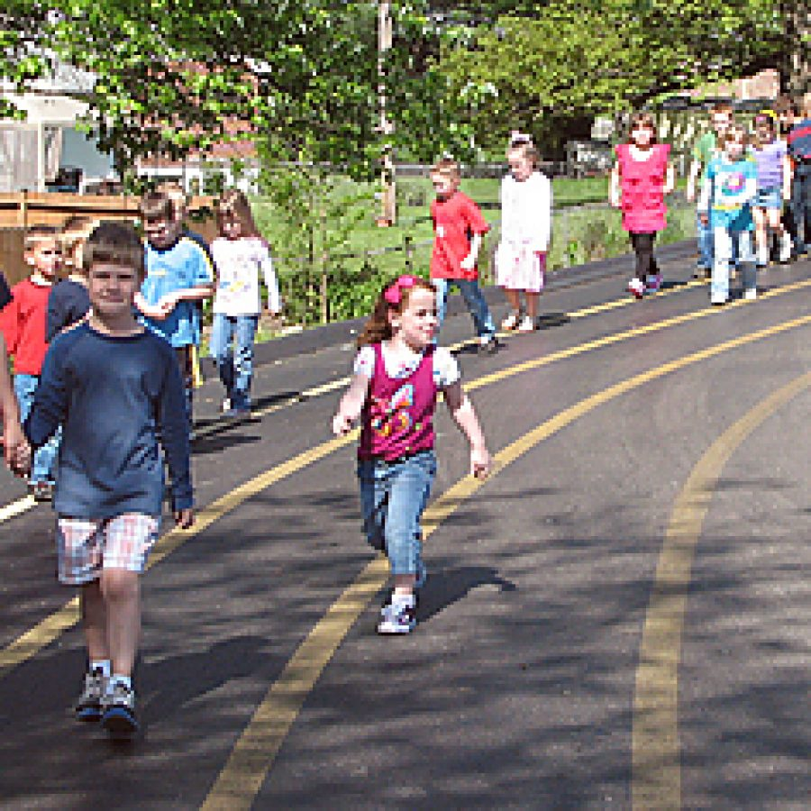 Bierbaum Elementary students and staff participated in a Fun Walk/Run at the school on April 29, where they raised \$2,300 to benefit the earthquake and tsunami victims in Japan.