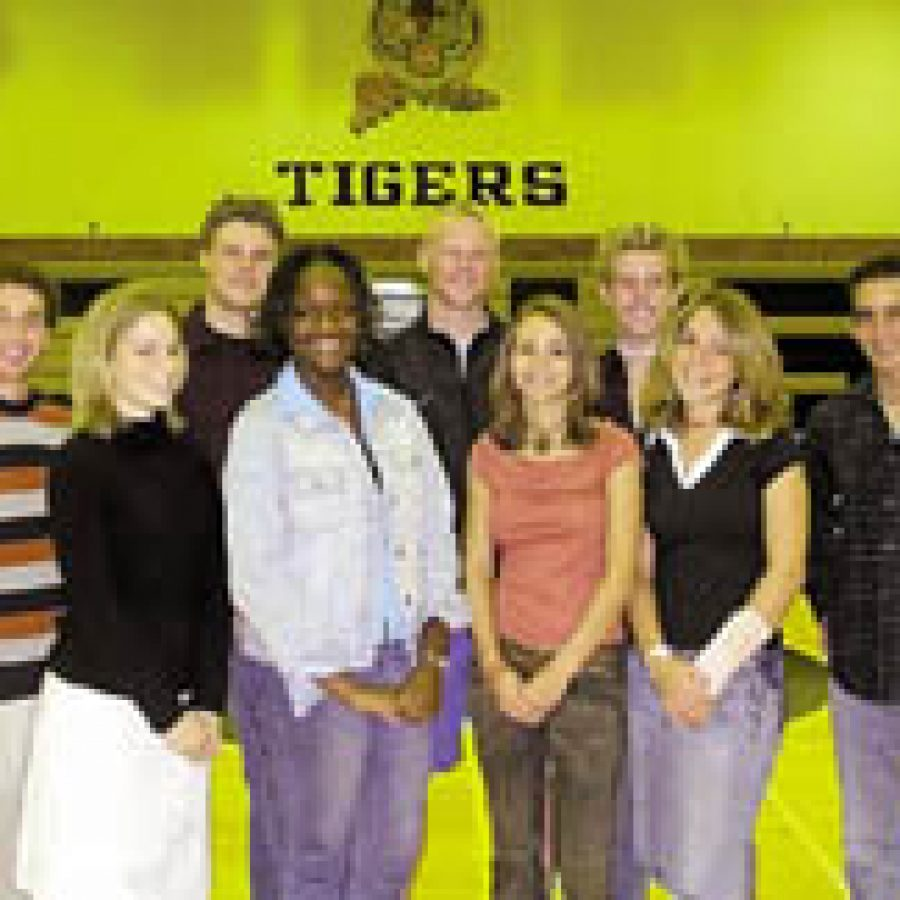 Nominated for Oakville Senior High's 2003 Homecoming Queen, front row, from left, are: Hanna Soltys, Nikkia Taylor, Alexia Chrisco and Mallory Herr. Nominated for the 2003 Homecoming King, back row, from left, are: Tyler Johnson, Dan Graham, Andrew Cooper, Bryan Ostendorf and Vincent Colletti.Not pictured is Aubrey Dezego.