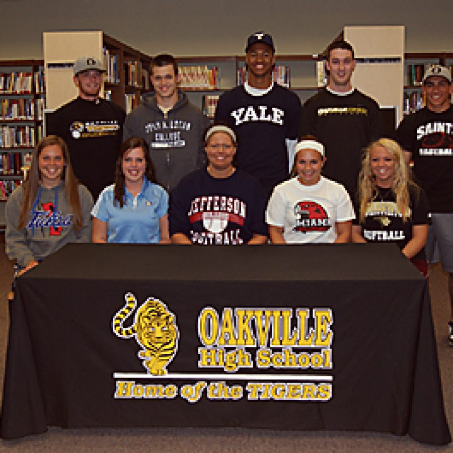 Ten Oakville High School seniors recently signed letters of intent to play collegiate athletics. Pictured front row, from left are: Julie Kernen, Lauren Buschhorn, Chloe Ward, Remy Edwards and Danie Farnam. Back row, from left are: Ryan Simmons, Dalton Bray, Javier Duren, Aaron Grave and Chad Gendron