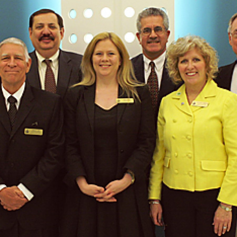 The Lindbergh Board of Education last week seated new and returning board members and elected officers. Pictured, front row, from left, are: Secretary Don Bee, Treasurer Kara Gotsch and Vice President Kathy Kienstra. Back row, from left, are: Vicki Lorenz Englund, Mark Rudoff, Ken Fey and President Vic Lenz.