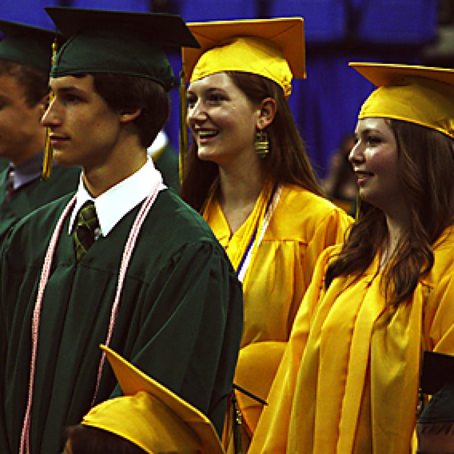 Lindbergh High School graduates await their turn to walk across the stage May 26 at Chaifetz Arena.