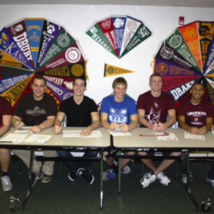 Lindbergh High School head football coach Tom Beauchamp is excited for his senior class, six of whom have signed letters of intent to play college football. They include, from left, Christopher Kew, Sam Rohr, Peter Simpson, Blake Beauchamp, Connor Jones and Ryan Woodland.