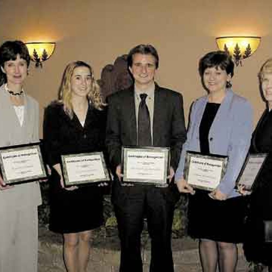 Mehlville School District teachers honored by the Lemay Chamber of Commerce as Outstanding Educators, from left, are: Karen Schmiel, Laura Shreve, Mike Szydlowski, Linda Woodrome and Mary Widitz.